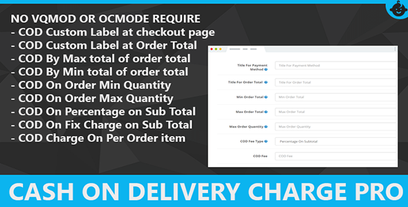 Cash on Delivery Charge COD Fees Opencart Pro