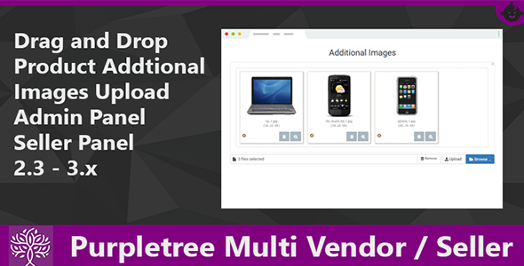 Drag & Drop Product Images Purpletree Multi Vendor-Seller Opencart