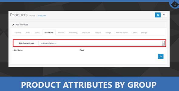 Product Attributes By Attribute Group in Opencart