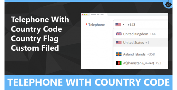 Telephone With Country Code and Flag Custom filed for Opencart